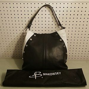 b. makowsky Bags - B MAKOWSKY LEATHER BLACK AND WHITE PURSE